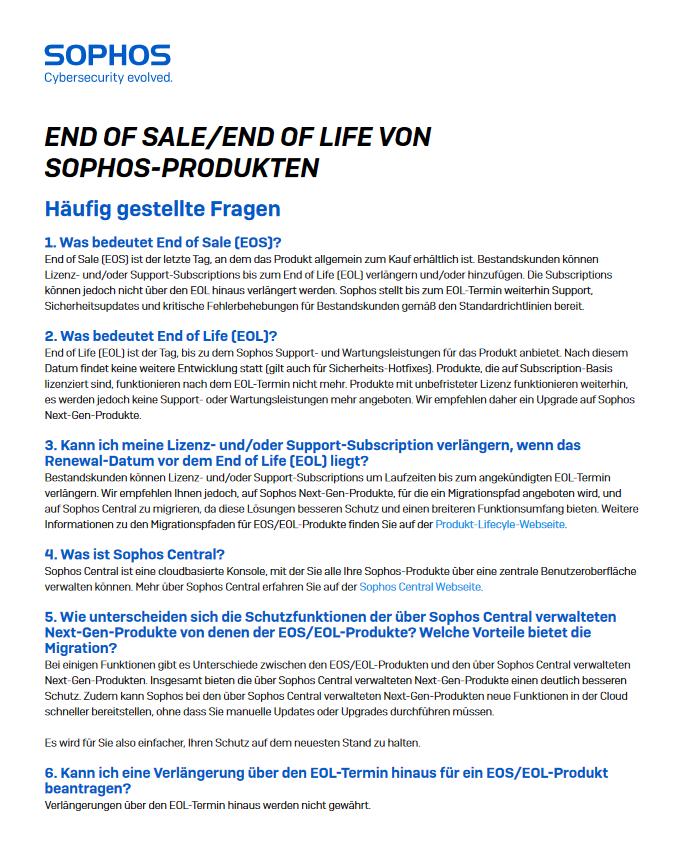 END OF SALE/END OF LIFE VON SOPHOS-PRODUKTEN