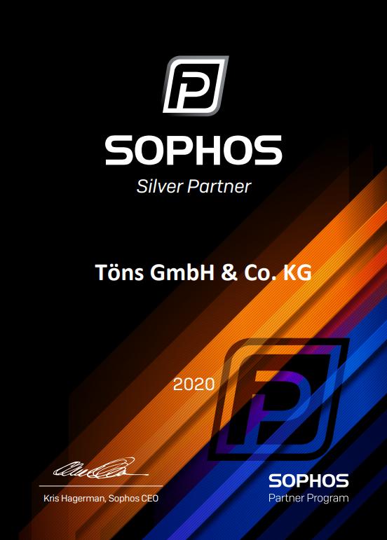 Töns Certificat Sophos Silver Partner